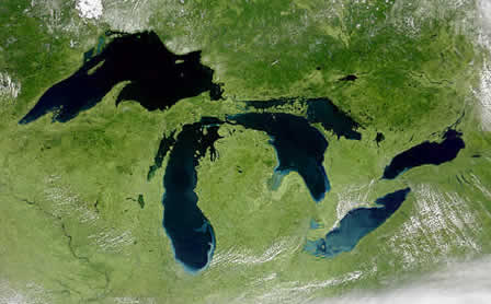 Figure 1: The Great Lakes in the U.S. and Canada are well-known examples of lakes produced by multiple glaciations and deepened by glacial scouring.
