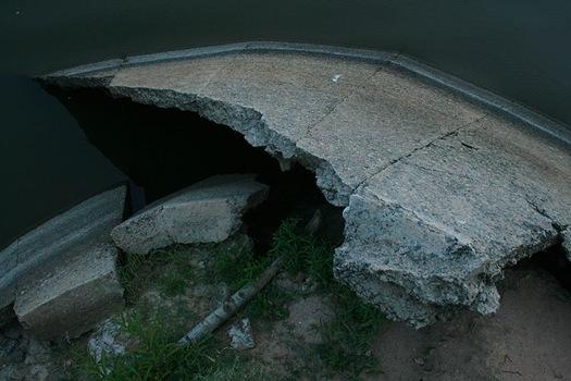 Concrete debris in Falls Lake
