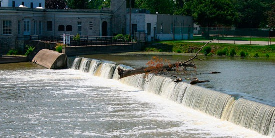 The River Raisin AOC starts downstream from the low head dam at Winchester Bridge in Monroe, Mich.