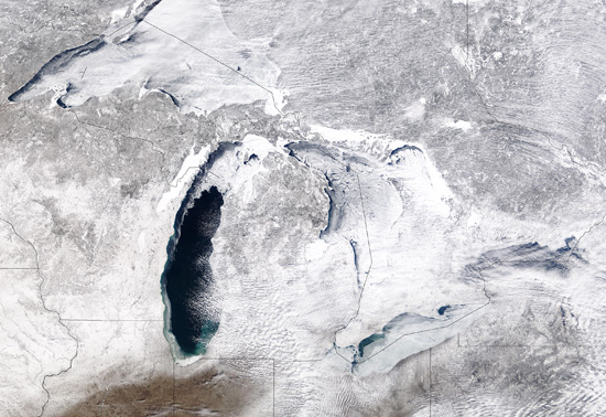 Ice covering the Great Lakes