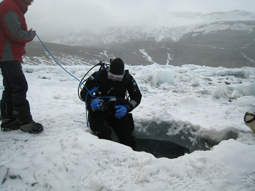 After penetrating the frozen surface of Lake Joyce, researchers began conducting dives as deep as 120 feet.