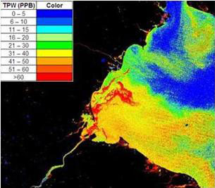 Example of a heat map produced by a Blue Water Satellite, depicting phosphorus concentrations in Western Lake Erie.