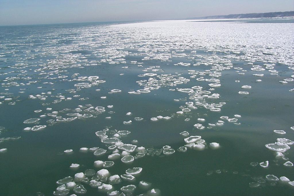 pancake ice on lake michigan