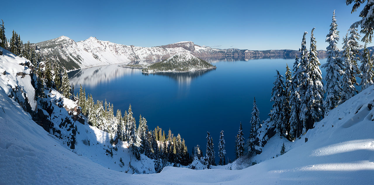 five clearest lakes / Crater Lake winter pano