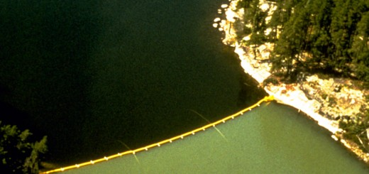A curtain separates two halves of a lake in the Experimental Lakes Area. (Credit: SAVE ELA)